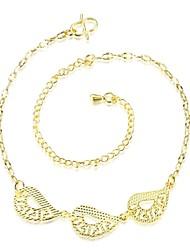 Anklet/Bracelet Leaf Friendship Turkish Fashion Vintage Bohemia Punk Hip-Hop Copper Gold Plated Yellow Gold Women's Jewelry 1pc