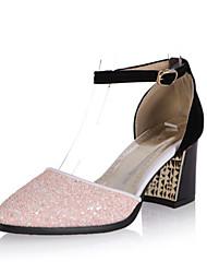 Saltos-Conforto Inovador Sapatos clube-Salto Grosso-Preto Verde Rosa Vermelho Branco-Gliter Materiais Customizados spandex-Escritório &