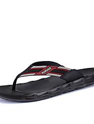 Men's Slippers & Flip-Flops Summer Comfort Leather Microfibre Outdoor Casual Flat Heel Black Brown