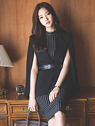 Two new cape coat Korean Slim wear vertical stripes dress suit dress bottoming spot