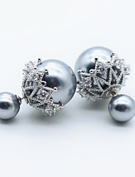 Body Jewelry Ear Piercing Pearl Sterling Silver Fashion Flower Gray Jewelry Halloween Gift Valentine Christmas Gifts 1 pair