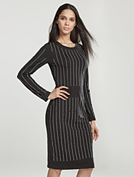 Women's Going out / Party Sexy / Simple Bodycon DressStriped / Letter Round Neck Knee-length Long