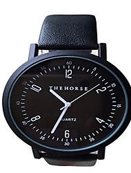 Couple's Fashion Watch Quartz Genuine Leather Band Cool Casual Black White