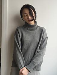 su Koreaanse chic grijs high-hals trui met lange mouwen hedging vrouwelijke los