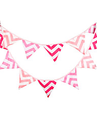 3.2m 12 Flags Pink Wavy Banner Pennant Polyester cotton Bunting Banner Booth Props Photobooth Birthday Wedding Party Decoration