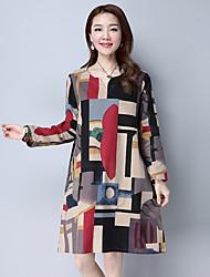 2017 Primavera modelos afluxo de mangas compridas solto, impressão casuais mulheres de grande porte vestir