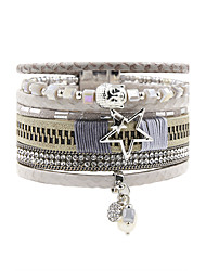 Fashion Women Multi Rows Rhinestone Set Buddha Head Star Pearl Charm Leather Bracelet