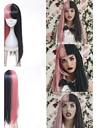 Melanie Martinez Wig Long Straight Pink Black Braids Synthetic Hair Cosplay Full Wig Heat Resistance Women's Party Wig Heat Resistant