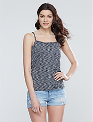 Women's Lace up Casual/Daily Simple Tank Top,Plaid Strap Sleeveless Black Cotton Thin
