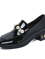 Women's Loafers & Slip-Ons Spring Summer Comfort PU Dress Casual Low Heel Jewelry Heel Others Black Green