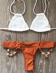 Bikinis Aux femmes Couleur Pleine Bandeau Polyester