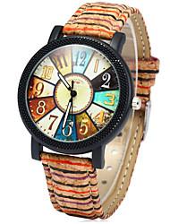Women's Fashion Watch Quartz Colorful Wood Band Rainbow Multi-Colored Brand