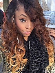 Hot!! T1B/4/27 Full Lace Human Hair Wigs 100% Brazilian Virgin Hair Wave Wigs Natural Color Full LaceWig For Women With Baby Hair