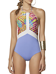 Women's Halter One-piece,Floral Spandex Pink Blue
