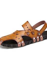 Sandálias-Buraco Shoes-Rasteiro-Caqui Marrom Claro-Pele-Ar-Livre Casual