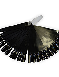 1set 24tips Black/Natrual Nail Art Fan Board Manicure Tools With Plastic Handle Nail False Tips For UV Polish Decoration Random Delivery