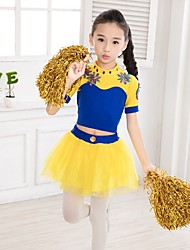 Cheerleader Costumes Outfits Children's Performance Spandex Organza 2 Pieces Short Sleeve Natural Top Skirt