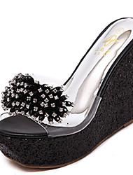 Damen-Sandalen-Lässig-PU-KeilabsatzWeiß Schwarz Rosa
