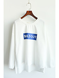 Before the new fall short after explosion models Korean models letters printed long-sleeved T-shirt women