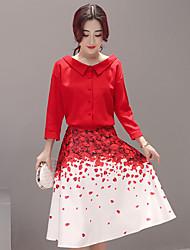 assinar 2017 camisa nova saia vermelha pétala impresso vestir dois