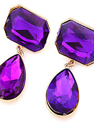 Stud Earrings Drop Earrings Gemstone Cubic Zirconia Alloy Fashion Drop Purple Screen Color Dark Green Jewelry 2pcs
