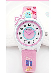 KEZZI Kids' Fashion Watch Wrist watch Japanese Quartz PU Band Casual White Blue Pink Purple