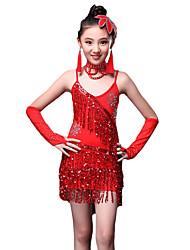 Latin Dance Dresses Children's Performance Milk Fiber Crystals/Rhinestones Paillettes Tassel(s) 1 Piece Sleeveless Natural Dress