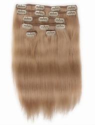 7 PC / Satz Clip in Haarverlängerungen für Menschenhaar 14inch 18inch 100% Frauen beige blond