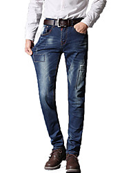 Men's Slim Jeans PantsCasual/Daily Simple Solid Mid Rise Button Cotton Polyester Micro-elastic All Seasons MG-Y610