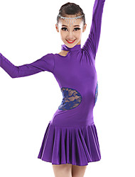 Latin Dance Dresses Children's Performance Lace Milk Fiber Lace Splicing 1 Piece Long Sleeve Natural Dress Dance Costumes