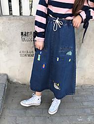 Zeichen Japanische weiche Schwester große Yards Stickereifrühling neue elastische Taille Tunnelzug Jeansrock Büste