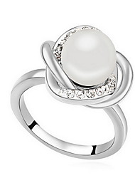 Ring Pearl Alloy Flower Natural White Black Dark Blue Gray Bronze Jewelry Daily 1pc