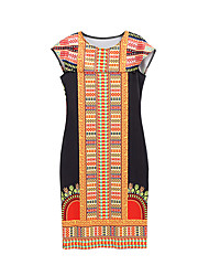 HOT! S-2XL Plus Size Women's Going out Casual/Daily Sexy Boho Bodycon DressPrint Round Neck Knee-length Short Sleeve Polyester Summer