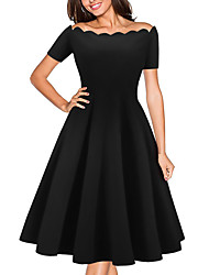 Women's Off The Shoulder Casual/Daily Formal Simple Sheath Dress,Solid Off Shoulder Above Knee Short Sleeve Polyester Red Black All Seasons Low Rise