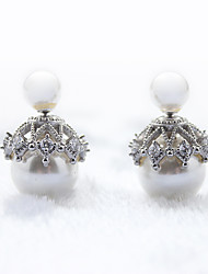 Earring 925 Sterling Silver Imitation Pearl Double Stud Earrings Jewelry Wedding Party Daily Casual