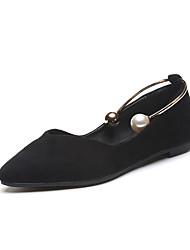Women's Flats Comfort PU Spring Summer Casual Dress Comfort Imitation Pearl Flat Heel Black Green Light Brown Flat