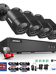 ANNKE 4-Channel 1080N Video Security System with 1TB Hard Drive and (4) 1.0MP Weatherproof Bullet Cameras