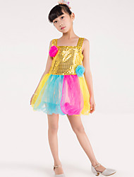 Ballet Dance Dress Children's Performance Polyester Splicing Sequins Flowers 1 Pieces Sleeveless Latin Dance Performance Costume
