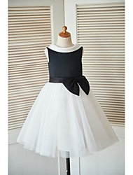 Princess Knee-length Flower Girl Dress - Satin Tulle Sleeveless Cowl with Bow(s) Buttons Sash / Ribbon