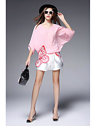 2016 Sign butterfly embroidery loose bat sleeve chiffon shirt blouse + white shorts piece fitted