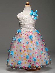 Ball Gown Knee-length Flower Girl Dress - Organza Jewel with Flower(s) Lace Pattern / Print