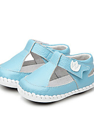 Girls' Baby Flats First Walkers Leatherette Summer Casual Outdoor Walking First Walkers Magic Tape Low Heel White Gray Blue Flat