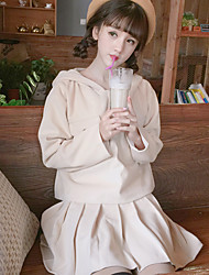 Sign woolen suit 2016 new winter hedging hooded sweater coat was thin pleated small skirt +