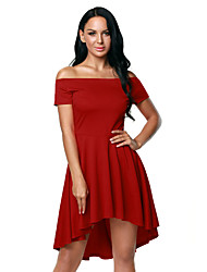 Women's Off The Shoulder Plaid Flared High Low Blouse Dress