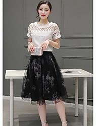 verão novas mulheres&# 39; s versão coreana saia de moda terno do vestido de malha peça chiffon e longas seções