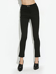 Women's Solid Red / Black Skinny Pants,Simple