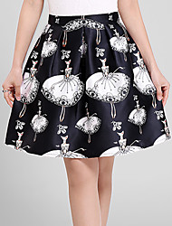 Women's Plus Size A Line Floral Print Pleated Skirts,Going out Casual/Daily Simple Cute High Rise Above Knee Zipper Polyester