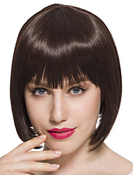 Capless Straight Wig Bob Women Wig Brown Mix Color Synthetic Fiber Wig