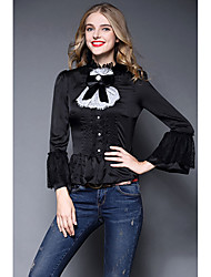 Women's Going out Work Vintage Sophisticated Spring Fall Blouse,Color Block Patchwork Stand ¾ Sleeve White Black Silk Thin