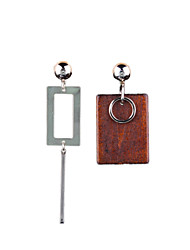 Simple Geometric Fashion Metal Wood Earrings